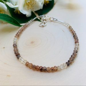 Quartz genuine gemstone sterling silver bracelet